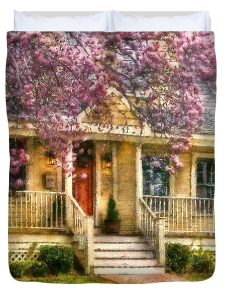 Spring - Door - Vacation House Duvet Cover by Mike Savad