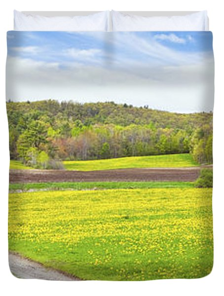 Spring Farm Landscape With Dirt Road And Dandelions Maine Duvet Cover by Keith Webber Jr