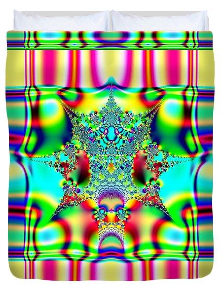 Spring Plaid Fabric Fractal Duvet Cover by Rose Santuci-Sofranko
