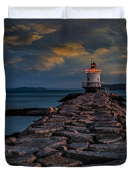 Spring Point Ledge Lighthouse Duvet Cover by Susan Candelario