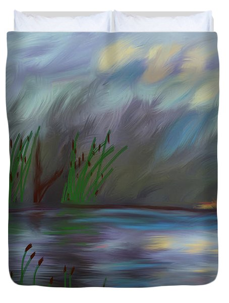 Spring Reed In The Canyon Duvet Cover by Angela A Stanton