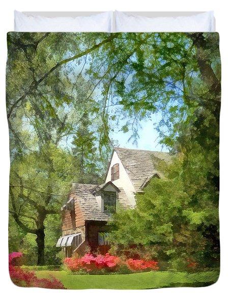 Spring - Suburban House With Azaleas Duvet Cover by Susan Savad