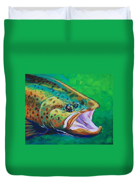 Spring Time Brown Trout- Fly Fishing Art Duvet Cover by Savlen Art