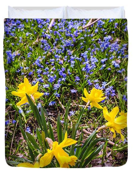 Spring wildflowers Duvet Cover by Elena Elisseeva