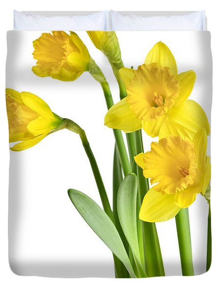 Spring yellow daffodils Duvet Cover by Elena Elisseeva
