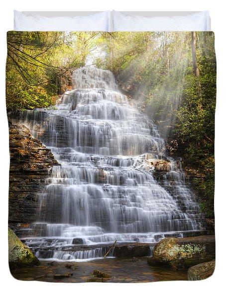 Springtime At Benton Falls Duvet Cover by Debra and Dave Vanderlaan