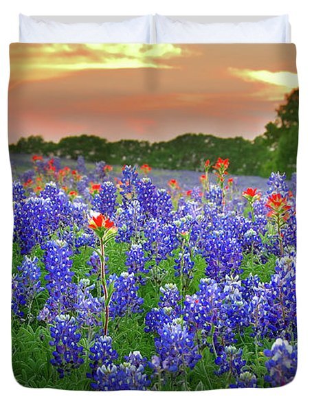 Springtime Sunset In Texas - Texas Bluebonnet Wildflowers Landscape Flowers Paintbrush Duvet Cover by Jon Holiday