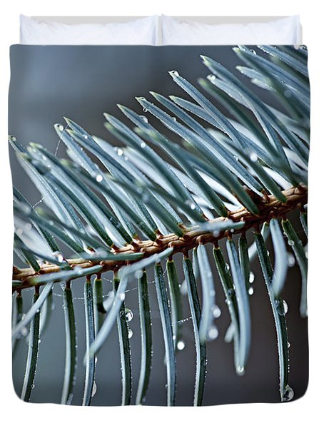 Spruce needles with water drops Duvet Cover by Elena Elisseeva