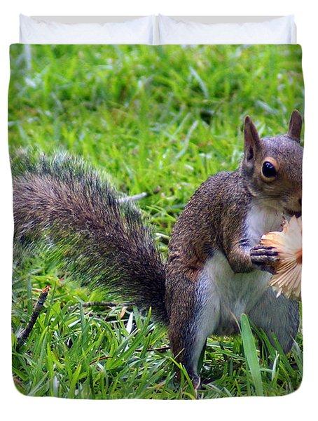 Squirrel Eats Mushroom Duvet Cover by Kim Pate