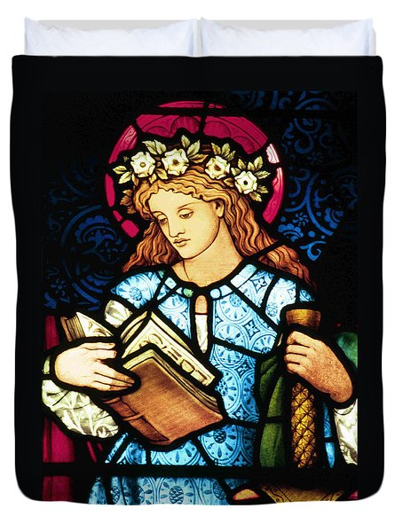 St Catherine Of Alexandria In Stained Glass Duvet Cover by Philip Ralley
