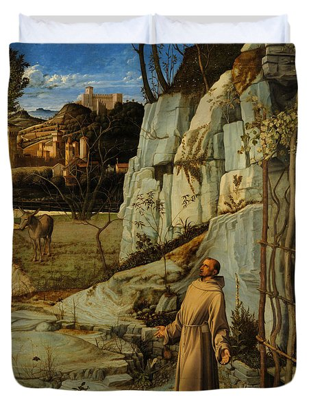 St Francis Of Assisi In The Desert Duvet Cover by Giovanni Bellini