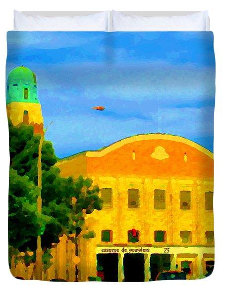 ST HENRI CITY HALL POSTE DE POLICE ET CASERNE DE POMPIERS MONTREAL CITY SCENE ART OF CAROLE SPANDAU Duvet Cover by CAROLE SPANDAU