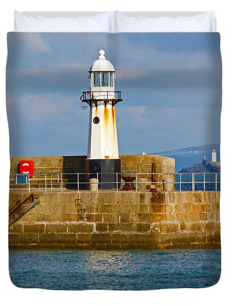 St Ives And Godrevy Lighthouses Cornwall Duvet Cover by Terri Waters