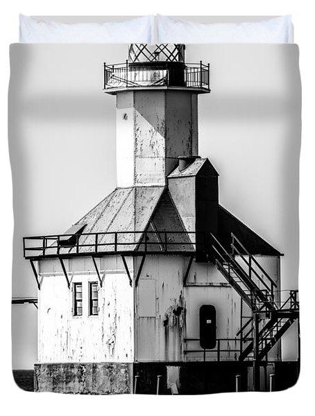 St. Joseph Lighthouse Black and White Picture  Duvet Cover by Paul Velgos
