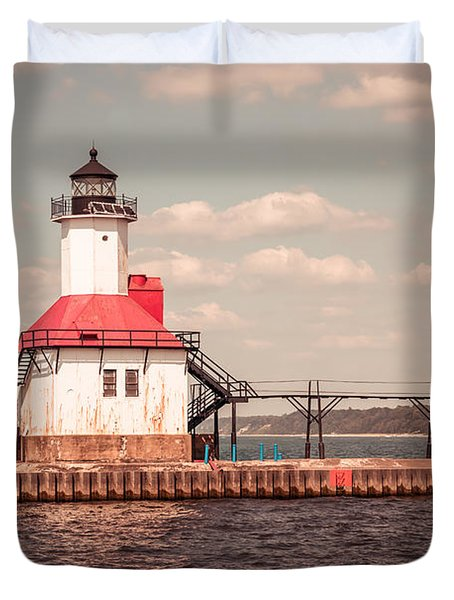St. Joseph Lighthouse Vintage Picture  Photo Duvet Cover by Paul Velgos