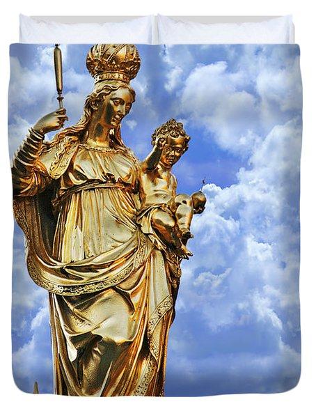 St Mary's Column Marienplatz Munich Duvet Cover by Christine Till