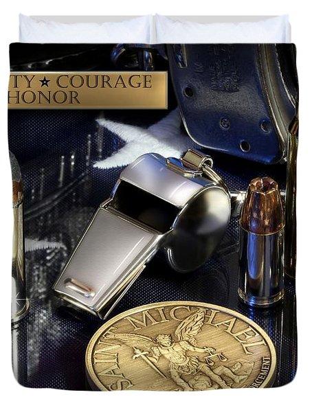 St Michael Law Enforcement Duvet Cover by Gary Yost