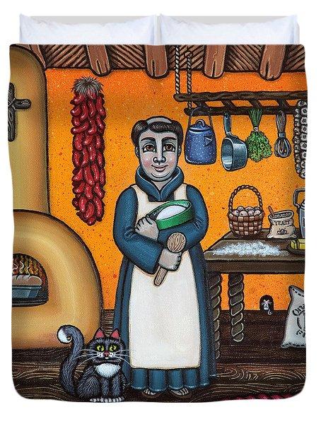 St. Pascual Making Bread Duvet Cover by Victoria De Almeida