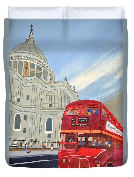 St. Paul Cathedral And London Bus Duvet Cover by Magdalena Frohnsdorff
