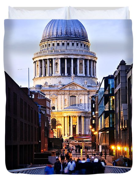St. Paul's Cathedral London at dusk Duvet Cover by Elena Elisseeva