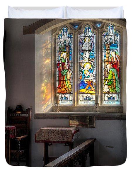 St Tysilio Window  Duvet Cover by Adrian Evans