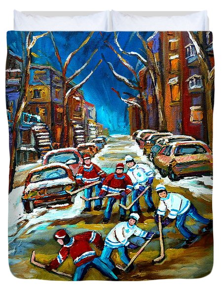 ST URBAIN STREET BOYS PLAYING HOCKEY Duvet Cover by CAROLE SPANDAU