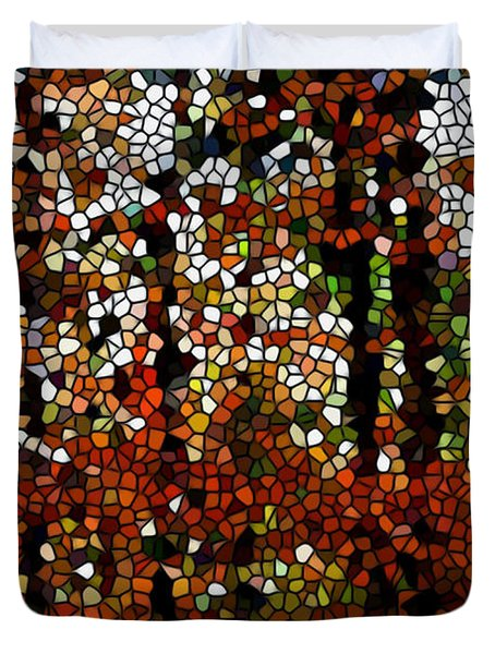 Stained Glass Autumn Colors In The Forest Duvet Cover by Lanjee Chee