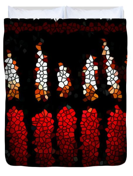 Stained Glass Candle Duvet Cover by Lanjee Chee