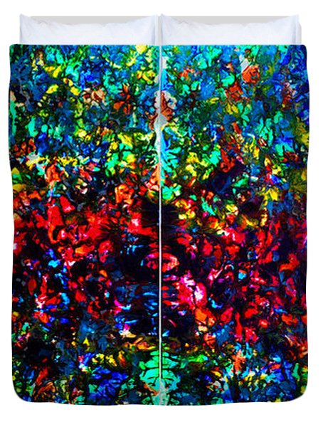 Stained Glass Collage Duvet Cover by Nancy Mueller