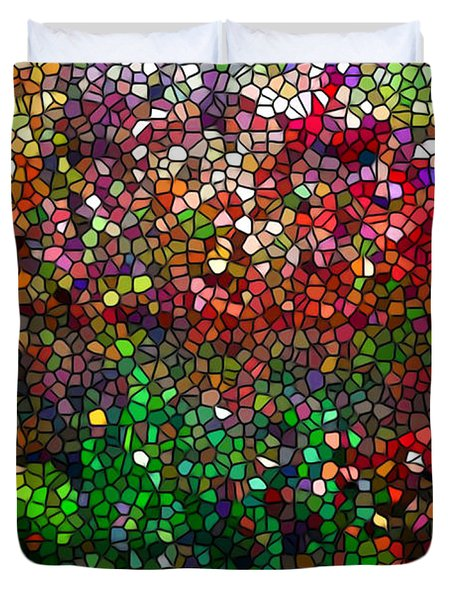 Stained Glass  Fall Reflected In The Still Waters Duvet Cover by Lanjee Chee