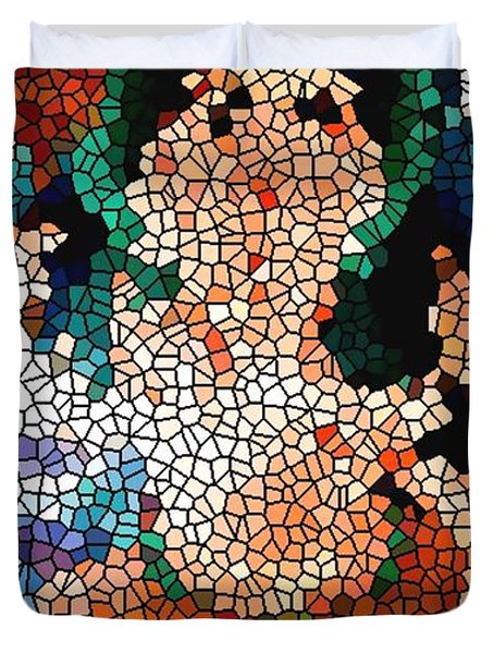 Stained Glass Ganapati Duvet Cover by Lanjee Chee