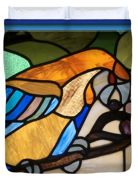 Stained Glass Parrot Window Duvet Cover by Thomas Woolworth