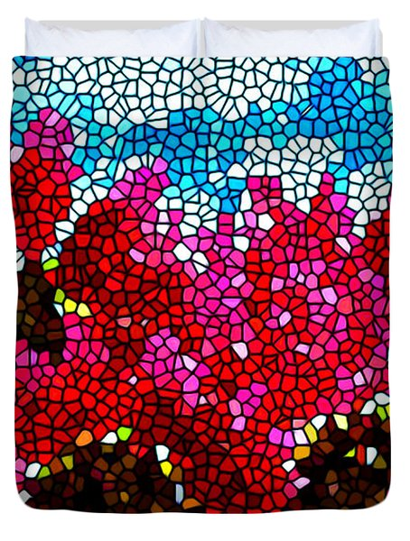 Stained Glass Red Sunflowers Duvet Cover by Lanjee Chee