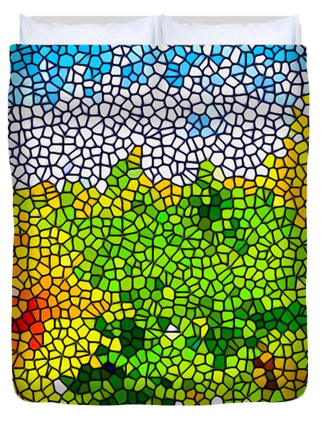 Stained Glass Sunflowers Duvet Cover by Lanjee Chee