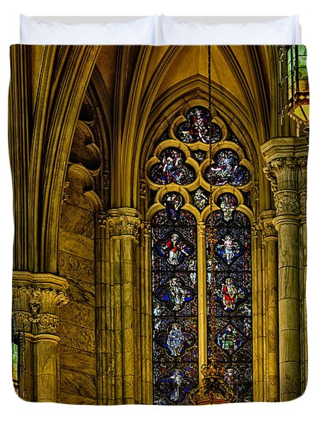 Stained Glass Windows At Saint Patricks Cathedral Duvet Cover by Susan Candelario