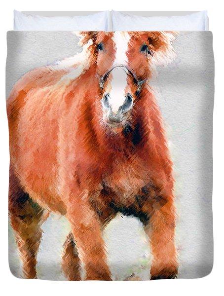 Stallion Portrait Duvet Cover by Dan Friend