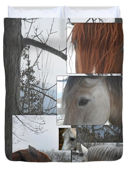 Stallions Collage There Is A Connection Duvet Cover by Patricia Keller