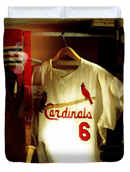 Stan The Man's Locker Stan Musial Duvet Cover by Iconic Images Art Gallery David Pucciarelli