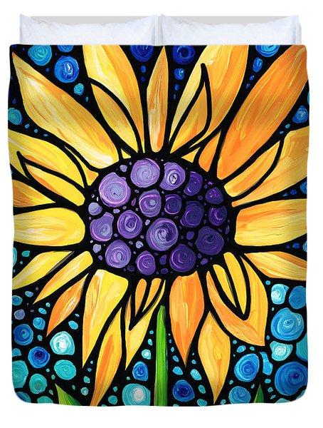 Standing Tall - Sunflower Art By Sharon Cummings Duvet Cover by Sharon Cummings