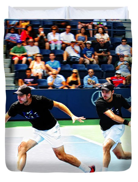 Stanislas Wawrinka in Action Duvet Cover by Nishanth Gopinathan