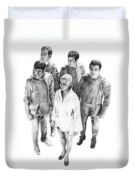 Star Trek - Meeting With V'ger Duvet Cover by Liz Molnar