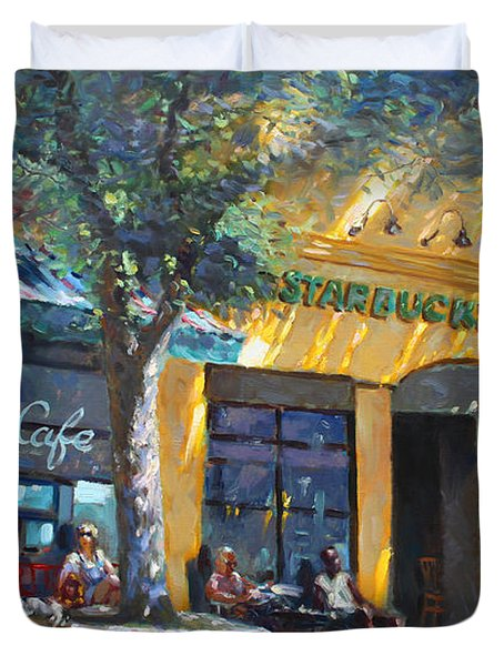 Starbucks Hangout Nyack Ny Duvet Cover by Ylli Haruni
