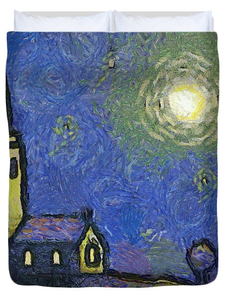 Starry Church Duvet Cover by Pixel Chimp