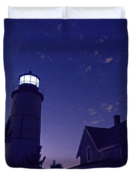 Starry Night At Sandy Neck Lighthouse Duvet Cover by Charles Harden