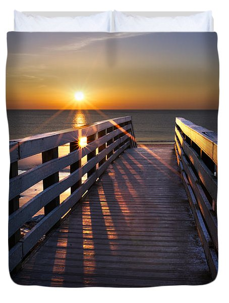 Stars on the Boardwalk Duvet Cover by Debra and Dave Vanderlaan