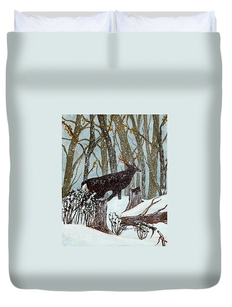 Startled Buck - White Tail Deer Duvet Cover by Barbara Griffin