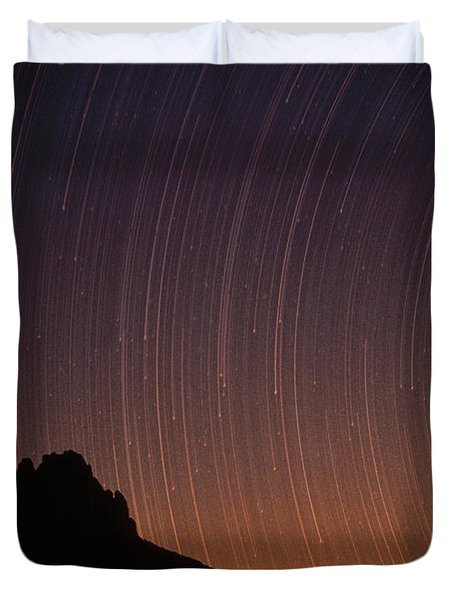 Startrails Over Shiprock In The Four Duvet Cover by Tim Fitzharris