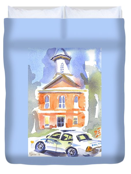Stately Courthouse With Police Car Duvet Cover by Kip DeVore