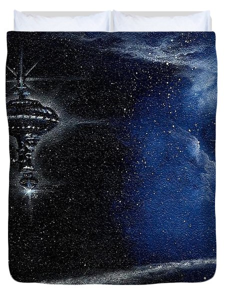 Station In The Stars Duvet Cover by Murphy Elliott