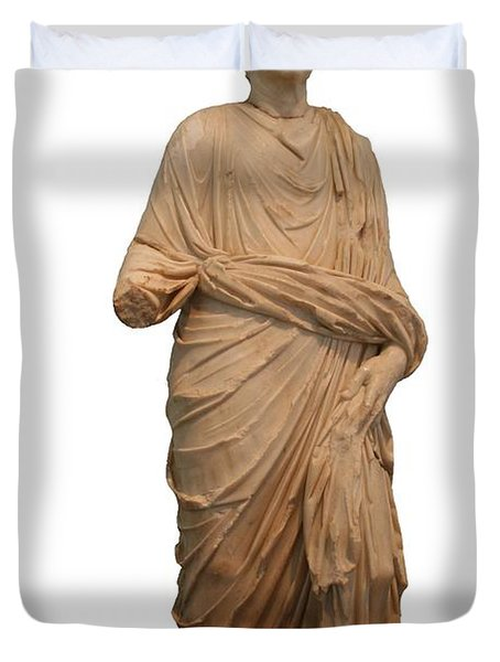 Statue Of A Roman Priest Wearing A Toga Duvet Cover by Tracey Harrington-Simpson